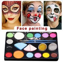 Flash Tattoo Face Palette Body Paint Make Up Oil Painting Art Halloween Party Fancy Dress Beauty Makeup Brush Eyeshadow Kit все цены