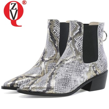 ZVQ cow leather Chelsea boots Punk cool woman Snakeskin pattern ankle boots winter autumn 4cm mid heels Pointed women's shoes