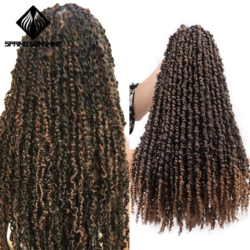 18inch Pre Twisted Passion Twist Hair Crochet Hair Synthetic Ombre Bomb Twist Pre Looped Fluffy Spring Twists Braiding Hair