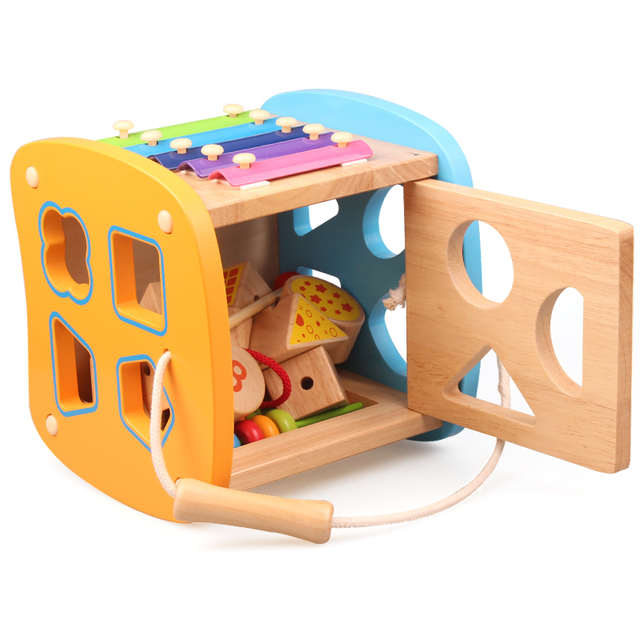 Multifunctional Box with Xylophone, Abacus, Assembly, Building Blocks