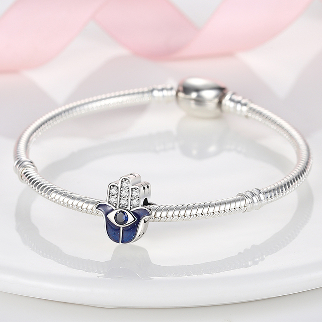 925 Sterling Silver Family Tree Star Moon Beads Heart Hamsa Fatima Hand Charm fit Original Pandora bracelet Silver 925 Jewelry 6