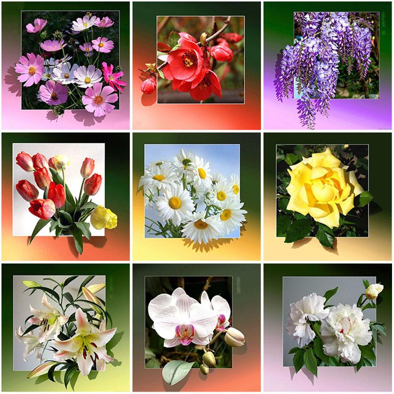 Diy 5d алмазная живопись цветок Алмазная вышивка мозаика Стразы