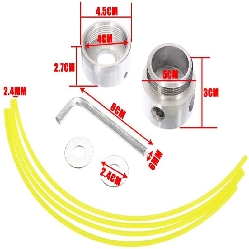 Aluminum Grass Trimmer Head with 4 Lines Brush Cutter Head Lawn Mower Accessories Cutting Line Head for Strimmer Replacement