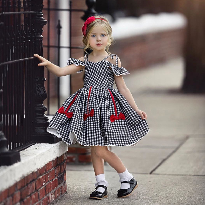 EACHIN Girls Dresses Fashion Baby Kids Girl Short Sleeve Off Shoulder A-Line Plaid Princess Dress Children Casual Beach Dresses