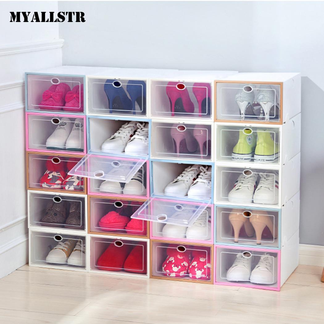 Home Creative Foldable Drawer Storage Boxe Combination Transparent Portable Environmental Multi-Purpose Dust-Proof Shoes Box
