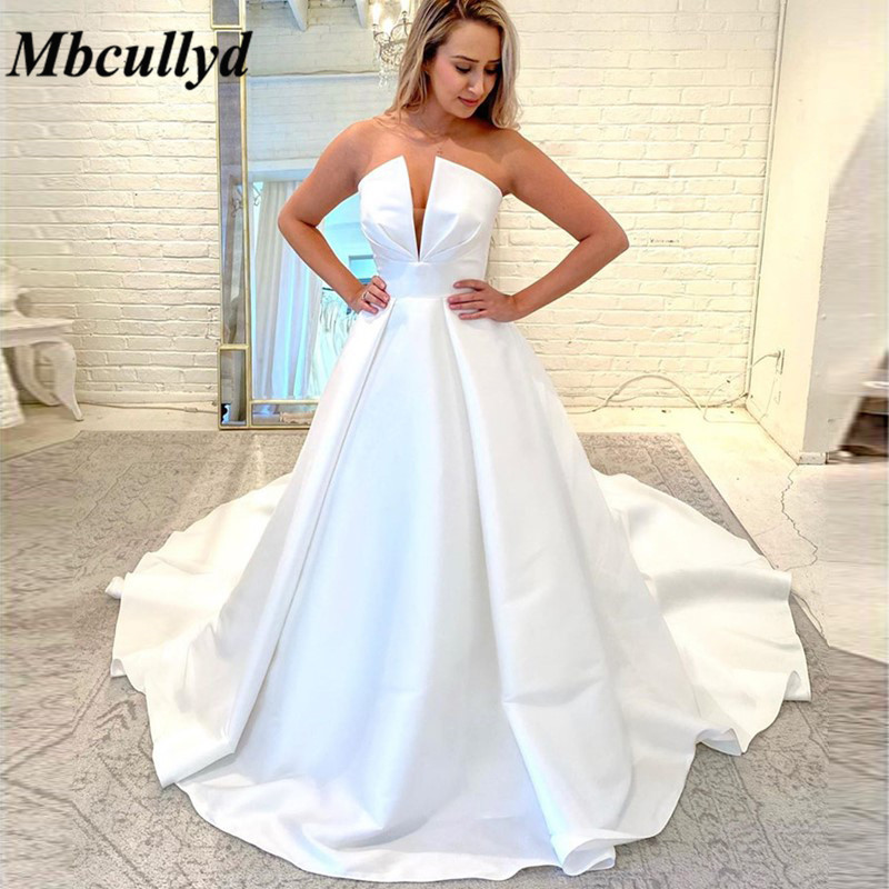 Mbcullyd Romantic Princess Wedding Dresses Turkey 2020 Elegant Satin Bridal Dress For Church Gowns Plus Size Vestido De Noiva