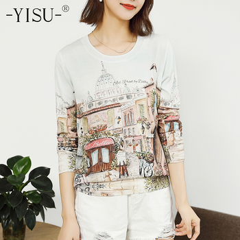 YISU Sweater Women Soft pullover sweaters female Autumn Winter fashion casual loose Jumper O-neck Long sleeve Printed sweater 1