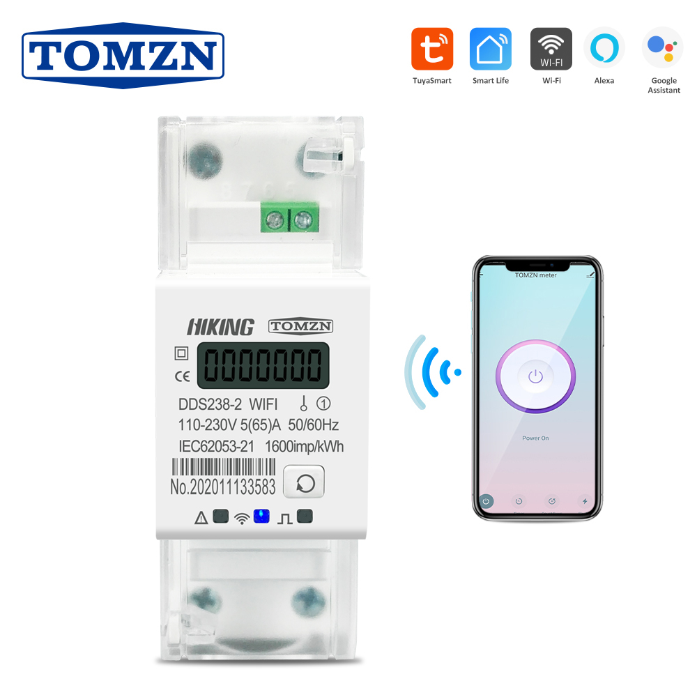 Tuya Single Phase 65A Din Rail WIFI Smart Energy Meter Timer Power Consumption Monitor KWh Meter Wattmeter 110V 220V 50/60Hz
