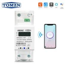 Smart Leven Tuya Eenfase Din Rail Wifi Smart Energy Meter Timer Stroomverbruik Monitor Kwh Meter Wattmeter 220V 50/60Hz