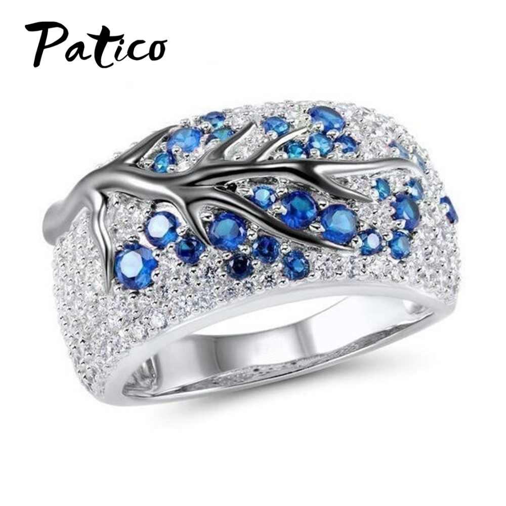 925 Sterling Silver Tree Branch Rings Cubic Zirconia For Women Gem Stone Knckle Finger Rings Engagement Wedding Jewelry Anillos