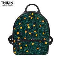 THIKIN Cartoon Lemon Print Fashion PU Leather Small Black Backpack Women College Bag for Girls Laptop Travel Daypack Custom Bag