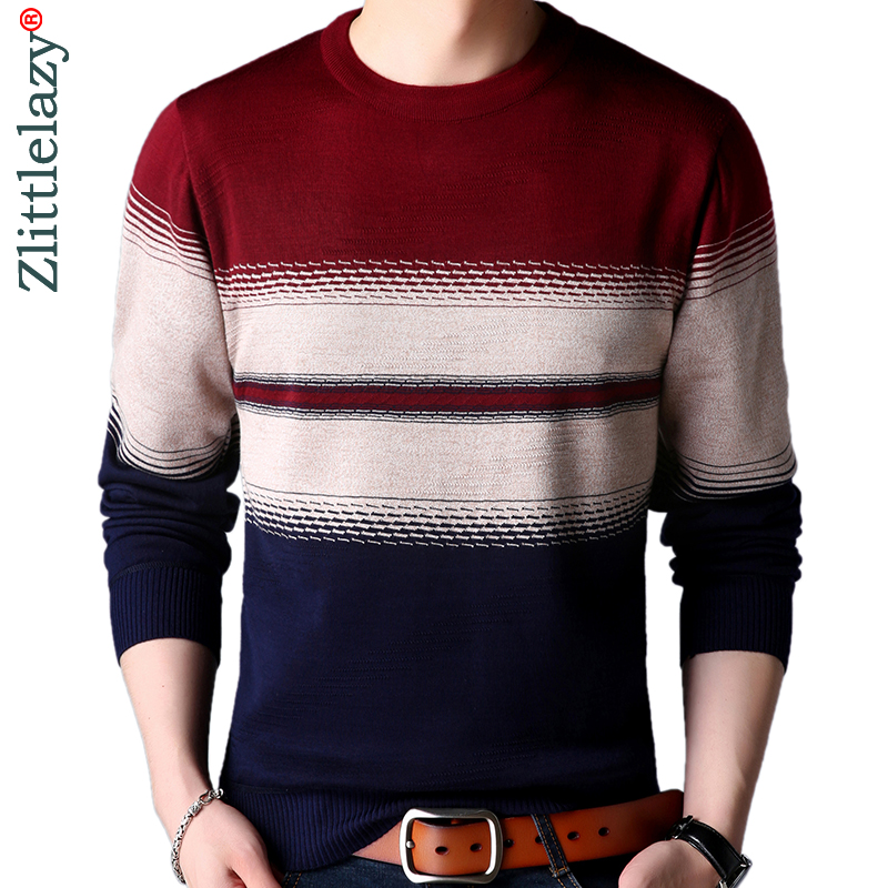 2019 Casual Thick Warm Winter Striped Knitted Pull Sweater Men Wear Jersey Dress Pullover Knit Mens Sweaters Male Fashions 02114