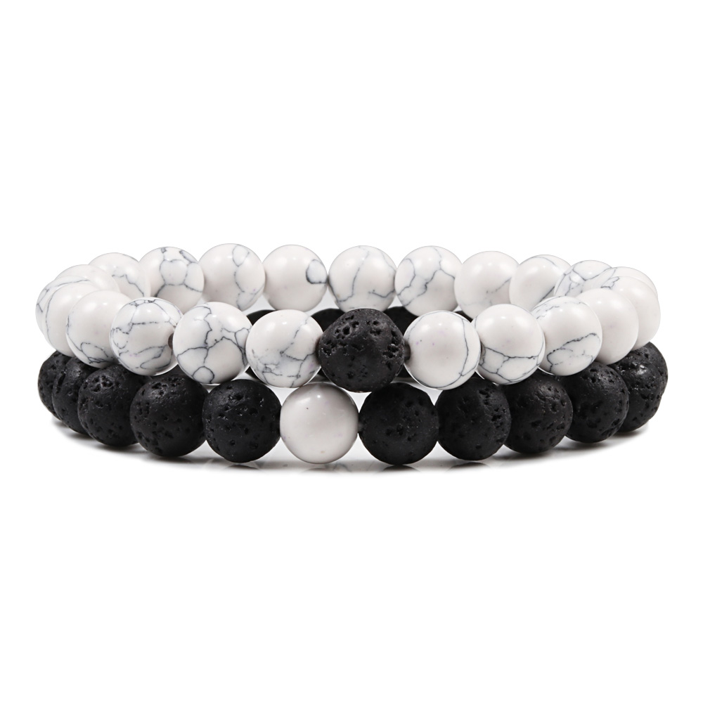Distance Couple Bracelet Men Women 8mm Black Lava White Natural Stone Beads Strand Bracelets Bangles Friendship Jewelry Pulseras