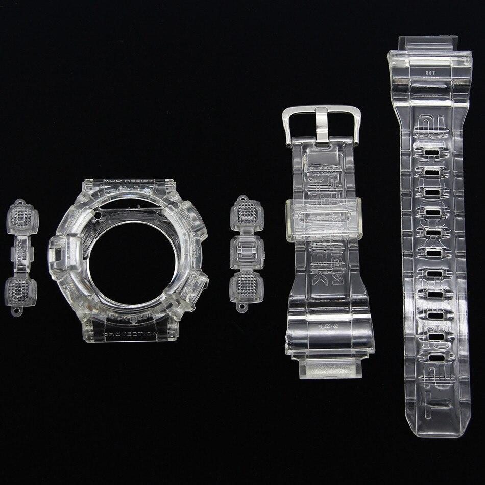 Bracelets de montre et étui pour G-9300 GW-9300 cristal glace Transparent montre bracelet et lunette avec outils cadeau pour homme et femme