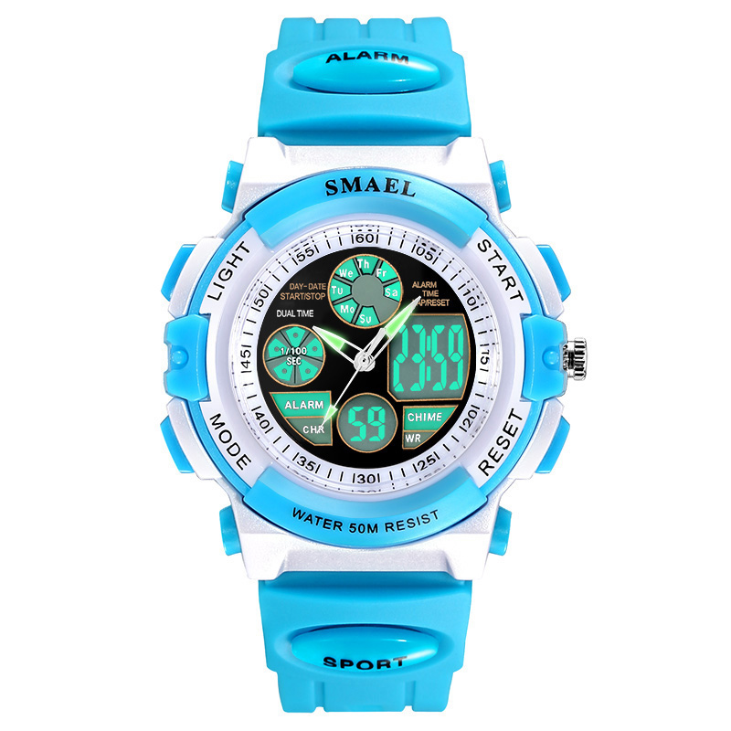 SMAEL Fashion Watch Children Sports Watches Dual Display Quartz Watch 50M Waterproof Wristwatches 0704 LED Student Watches Girls