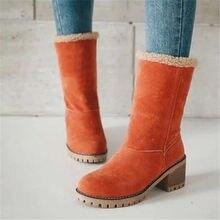 Women Mid boots Winter Fur Warm Snow Boots Ladies Warm wool