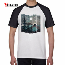 Summer 3D Print T Shirts Snow Forest Tree Graphic Tees Mens Womens White Cotton T-Shirt Unisex Casual Tops