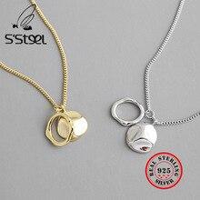 S'STEEL 925 Sterling Silver Pendant Necklace Irregular Disk