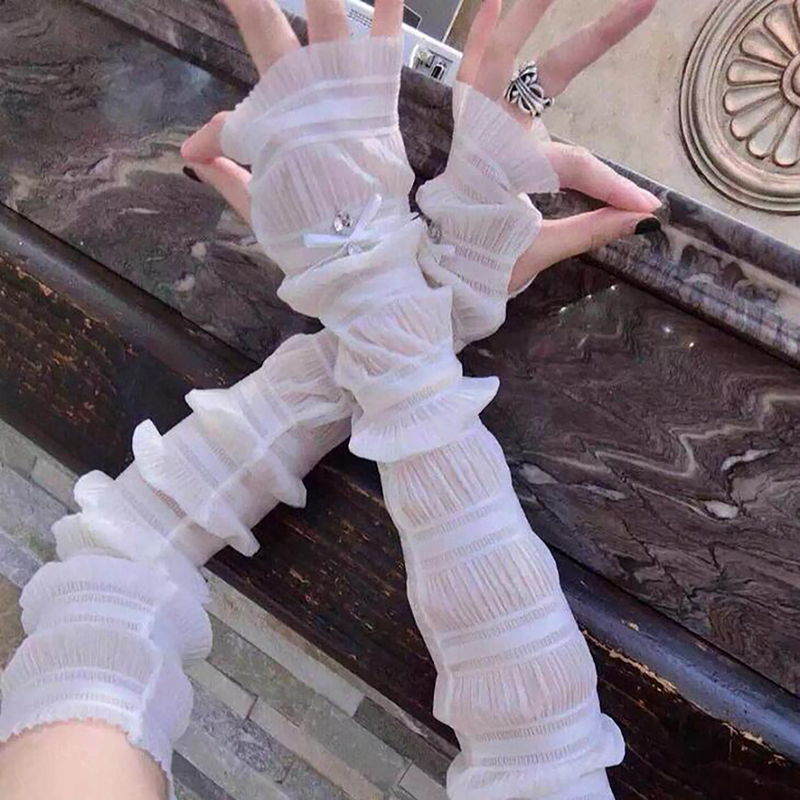 Woman Ice Sleeves Gloves Rhinestone Bow Sunscreen Gloves Summer Thin Section Long Ice Silk Cycling Glove  Comfortable Glove