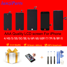 100% AAA جودة تيانما LCD عرض مع شاشة تعمل باللمس التحويل الرقمي لفون 5S 5 5C SE 6 7 8 6s 4s شاشة + الزجاج المقسى + أدوات