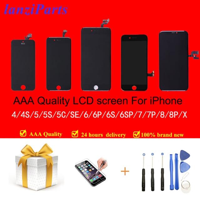 100% Aaa Kwaliteit Tianma Lcd scherm Met Touch Screen Digitizer Voor Iphone 5S 5 5C Se 6 7 8 6S 4S Screen + Gehard Glas + Gereedschap
