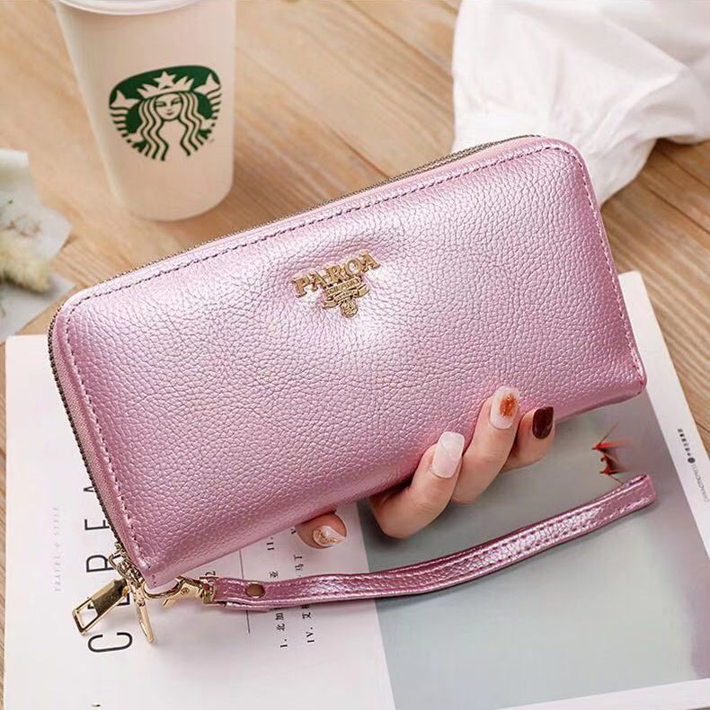 New Fashion Korean Women Wallet Luxury Leather Double Zipper Long Wallet Multi-card Mobile Phone Coin Purse
