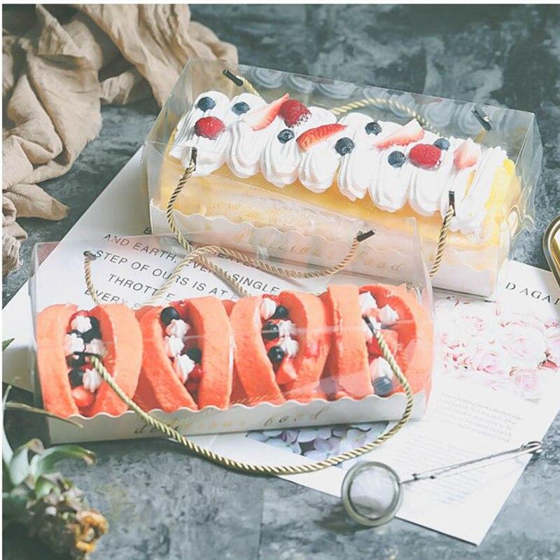Купить с кэшбэком LBSISI Life 10pcs Transparent Cake Box With Handle Cupcake Swiss Clear Plastic Portable PET Packing Gift Box Roll Long