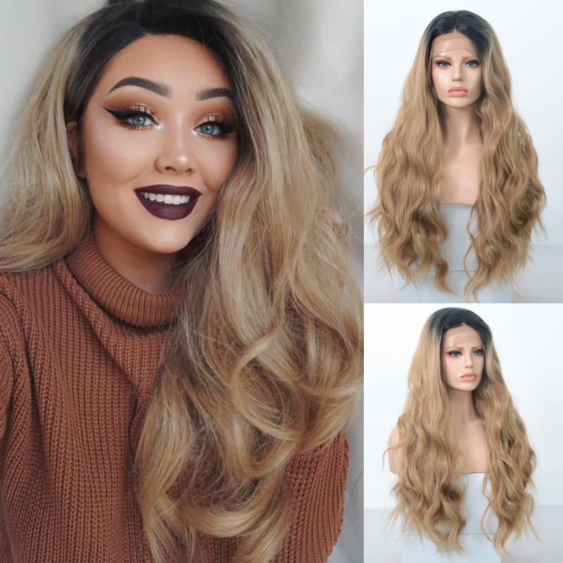 Charisma Long  Body Wave Synthetic Lace Front Wig Dark Roots Ombre Wigs  For Women Glueless Heat Resistant Wigs For Black Women
