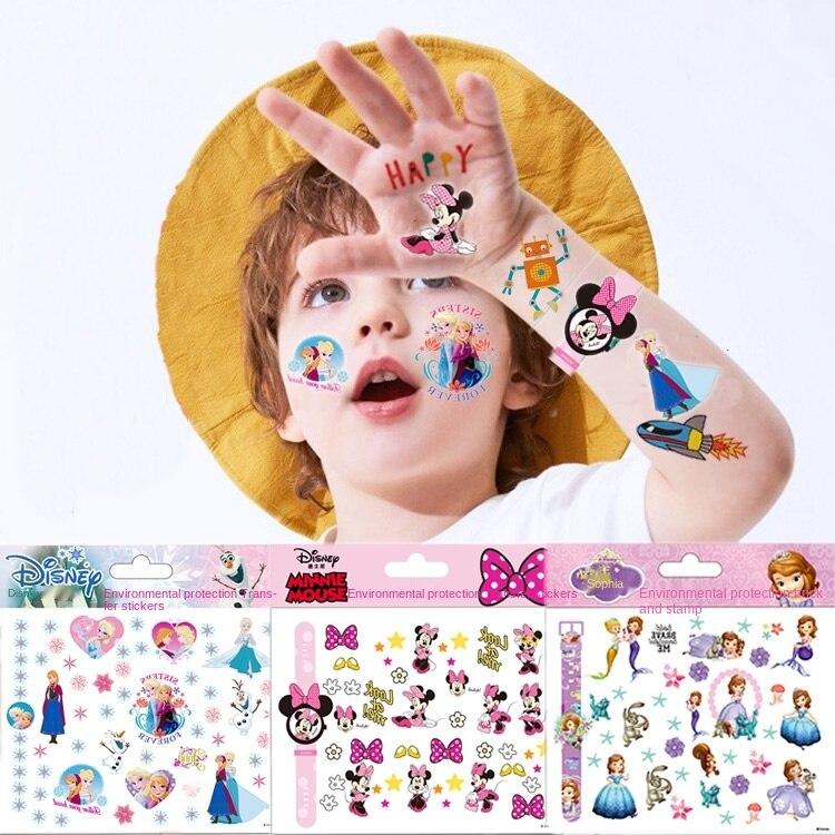 Original Disney Children Tattoo Stickers Random 1pcs Cartoon Frozen Minnie waterproof sticker Kids Girls Christmas Birthday Gift