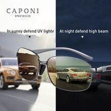 CAPONI Square mężczyźni okulary spolaryzowane fotochromowe okulary na dzień i noc jazdy Vintage okulary UV400 BSYS7755