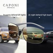 Caponi Vierkante Mannen Zonnebril Gepolariseerde Meekleurende Zonnebril Dag En Nachtzicht Rijden Vintage Bril UV400 BSYS7755