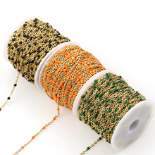 цена 2mm Width Stainless Steel gold/steel Chains Jewelry DIY Enamel Oval Ball Beaded Chain for Women Necklace Bracelets Anklet Making онлайн в 2017 году