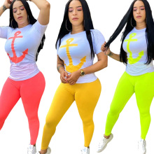 Printting Short Sleeve Round Neck T-Shirt and Solid Color Pencil Trousers Women Casual Suits 2020 Summer Sexy Two Piece Set