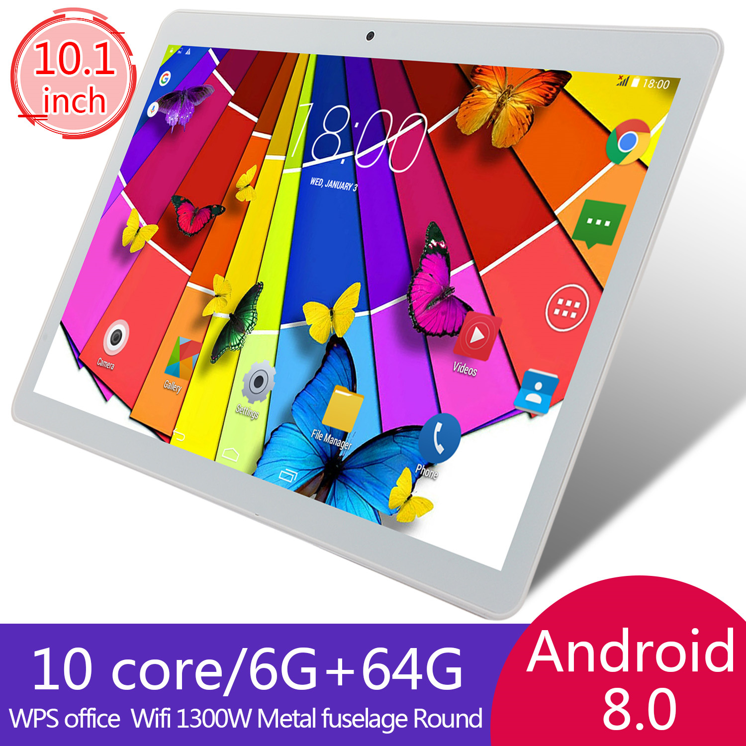 KIVBWY Tablets Android 4G Phone Call Octa Core 6 GB+64 GB Tablet 10.1 Pc With Touch Keyboard Dual SIM Card WiFi Bluetooth