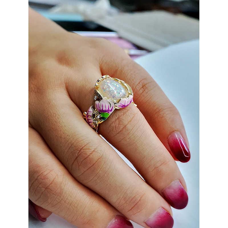 อินเทรนด์ใหม่ดอกไม้ Lotus ใบหินโอปอลแหวนแฟชั่นเครื่องประดับทองคำขาวคริสตัลภาพวาด Statement แหวน Z5P746