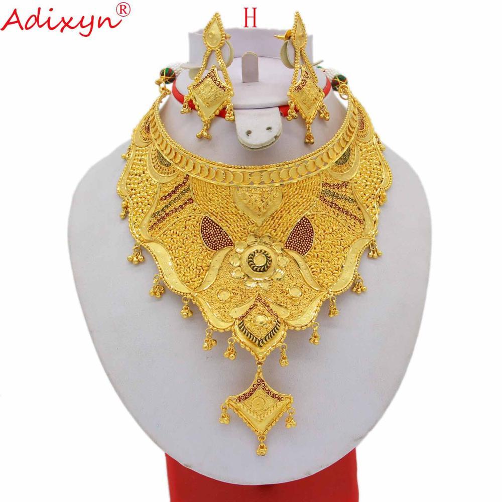 Adixyn 60 cm/24 pouces corde collier/boucles d'oreilles ensemble de bijoux femmes or coloré précieux éthiopien/africain accessoires de mariage N12301