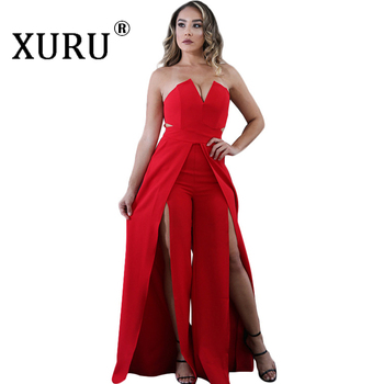 XURU Women Off Shoulder Jumpsuits Strapless Sleeveless High Split Loose Jumpsuit Sexy Backless Solid Overalls