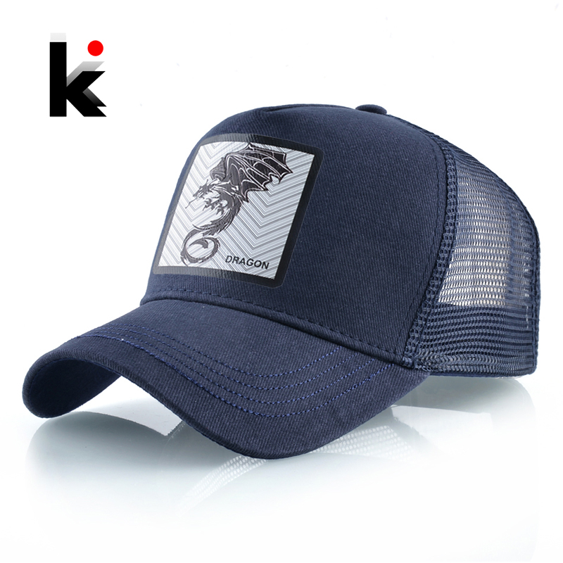 Men's Baseball Cap Fashion Snapback Hat With Dragon Patch Casual Cotton Dad Hats Breathable Mesh Trucker Caps Men Hip Hop Bones 1