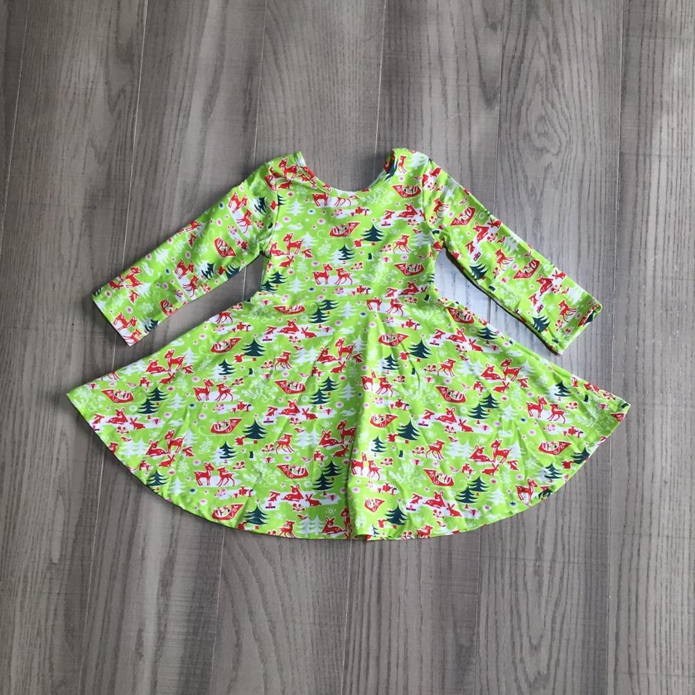 special offer Girlymax fall/winter baby girls cotton chlidren clothes milk silk twirl dress floral fox cow leopard knee length 4