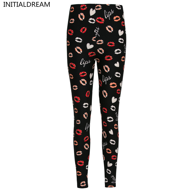 INITIALDREAM Brand 2019 New Lips Printed Women Leggings High Waist Women Stretchy Trousers Sexy Pants Womens Leggings