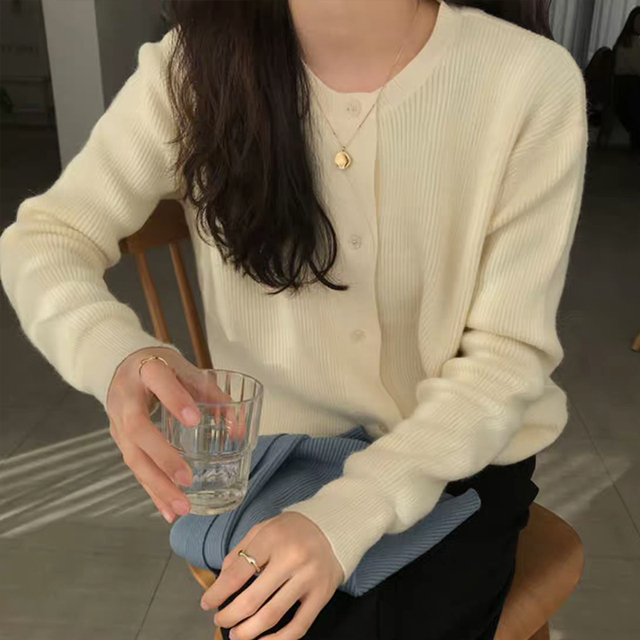 Ailegogo Women Sweater New Spring Casual O-neck Single Breasted Female Cardigans Knitted Loose Fit Ladies Tops Knitwear 6
