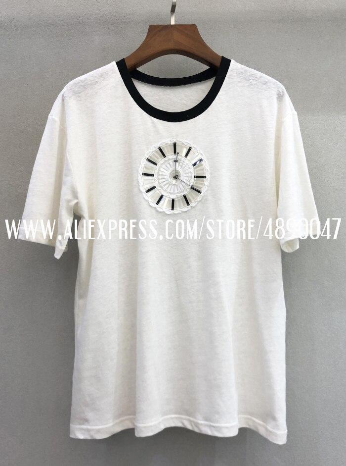Ранняя весна Цветочная вышивка часы футболка высокого класса женская футболка с коротким рукавом Топ - Цвет: Белый