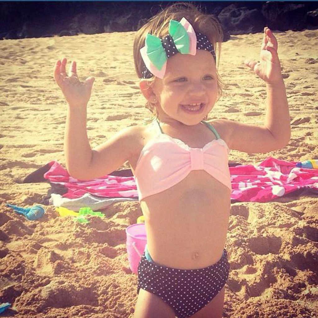 2020 meninas de duas peças bolinhas maiô criança menina do bebê biquíni maiô natação nadador traje rosa biquini