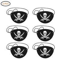 Patchs yeux de Pirate, 6 pièces, en feutre, squelette, Captain Eye, pour Halloween, noël, fête à thème