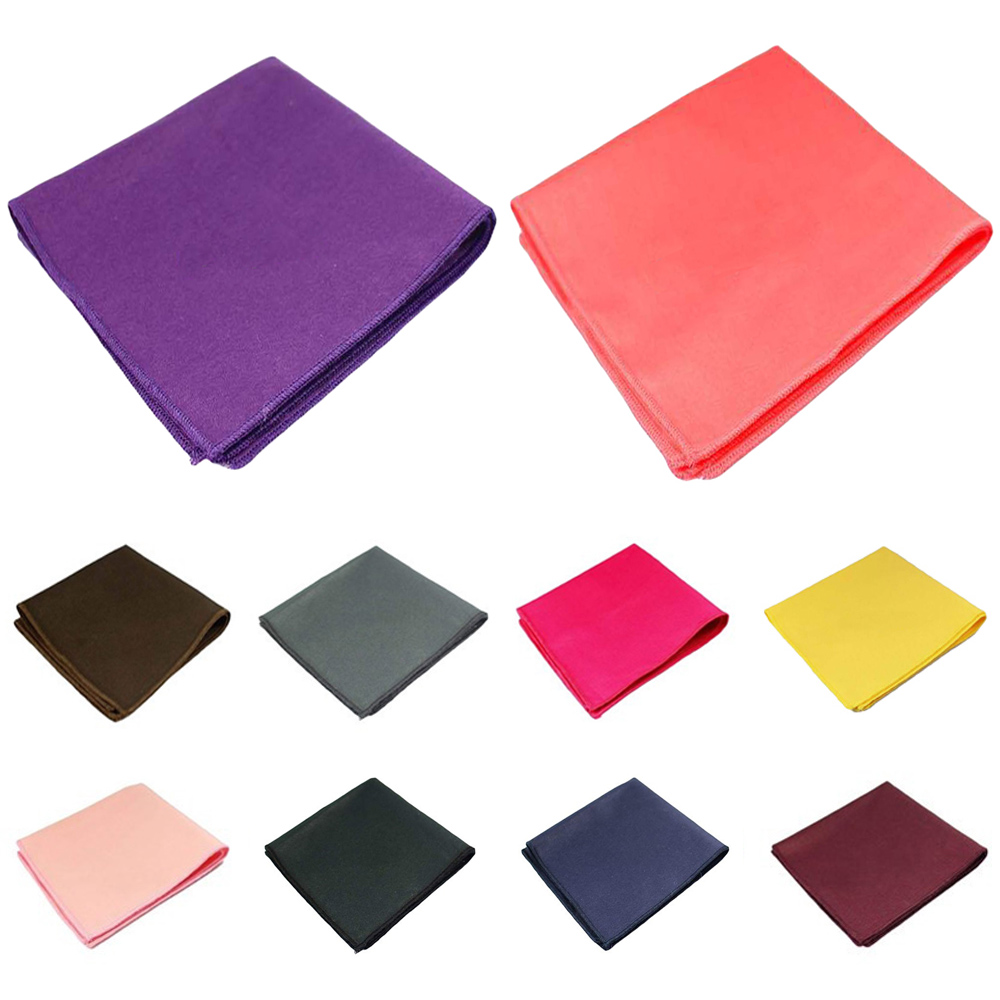 Men Cotton Solid Color Pocket Square Wedding Party Business Handkerchief Hanky