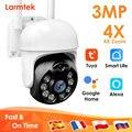 3MP видеонаблюдения Камера PTZ IP Wi-Fi Камера Открытый двухстороннее аудио 4x цифровой зум Видео Камеры Скрытого видеонаблюдения Камера Tuya Google ...