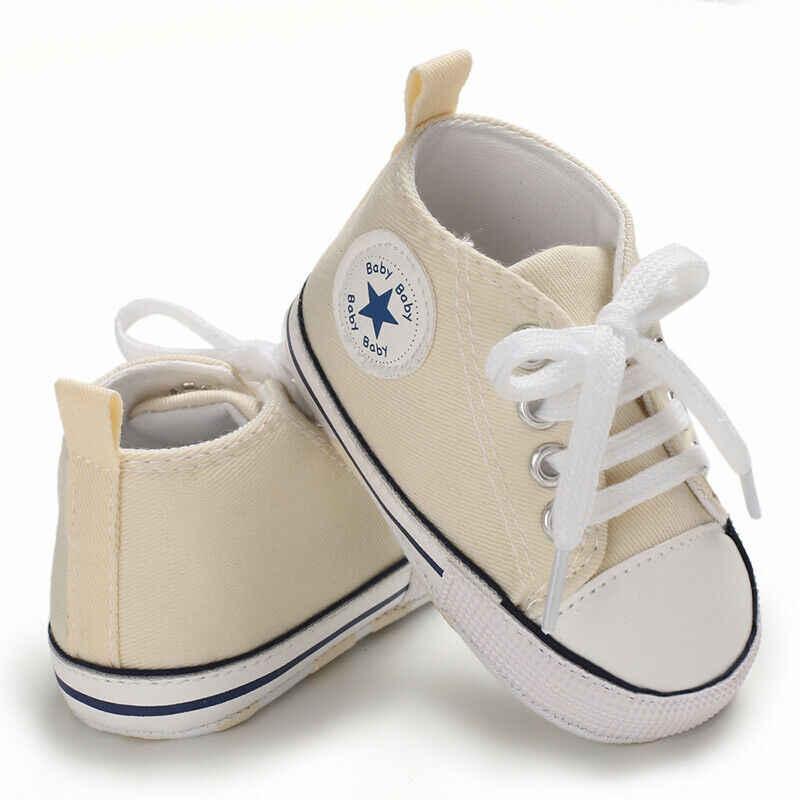 Recién Nacido lindo niño chico suave zapatillas de lona bebé niño niña de encaje de suela suave cuna en primer lugar los caminantes zapatos zapato