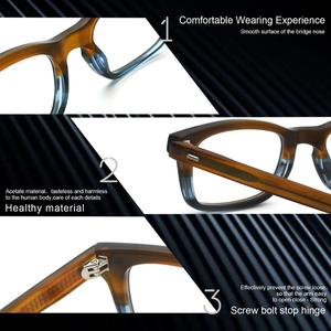 Image 5 - Classic Eyeglasses Frames Acetate Men Prescription Glasses Retro Myopia Glasses Patchwork Designer Optical Frames Eyewear 617g