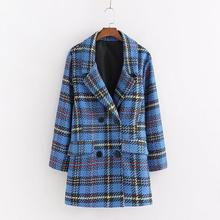 Houndstooth Plaid Blazers Women Jackets Elegant Tweed Long Sleeve Coat Streetwea