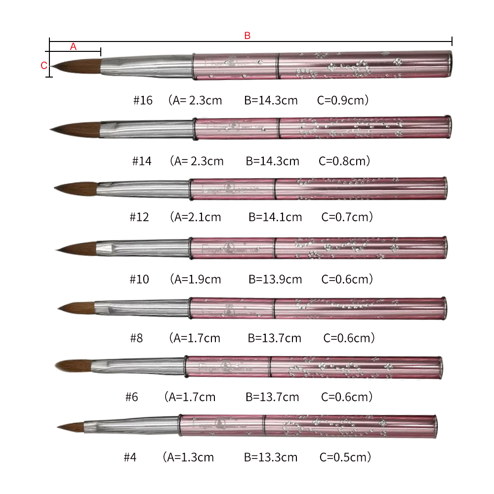 New 1PCS Nail Art Kolinsky Sable Acrylic Brush Pen UV Gel Polish DIY Painting Drawing Carving Pen Manicure Tools No 2 4 6 8 10